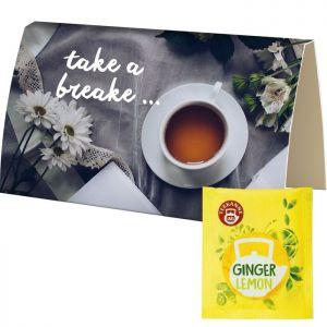 Bio Beuteltee Ginger Lemon in bedruckbarer Klappkarte