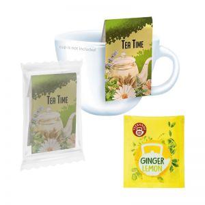 Bio Beuteltee Ginger Lemon mit Werbereiter und Bedruckung