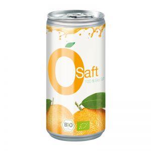 Bio Orangensaft in einer Werbe-Getränkedose mit Logodruck