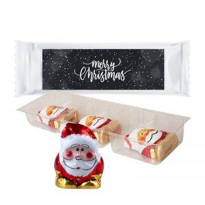 Bio Schoko Weihnachtsmänner im Tray mit Werbe-Etikett mit Werbedruck