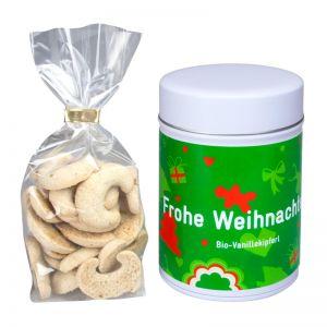 Bio Vanillekipferl in Werbe-Keksdose mit Werbeetikett