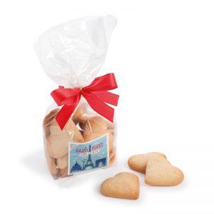 Butterkeks-Herzen im Klarsichtbeutel mit Aufkleber und Logodruck