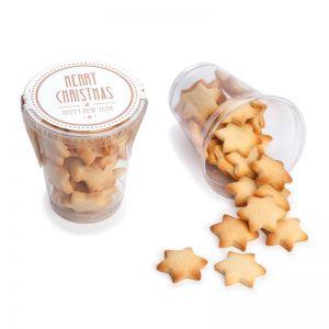 Butterkeks-Sterne im Klarsichtbecher und Werbe-Etikett