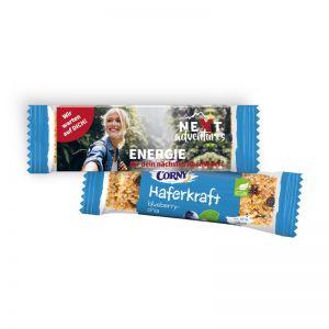 CORNY vegane Haferkraft Blueberry-Chia im Werbeschuber mit Logodruck