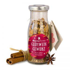 Do it yourself Flasche Glühweingewürz mit Werbe-Etikett und Anhänger
