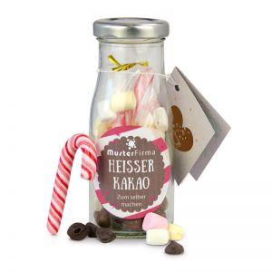 Do it yourself Flasche Heißer Kakao mit Werbe-Etikett und Anhänger