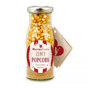 Do it yourself Flasche Zimt Popcorn mit Werbe-Etikett und Anhänger