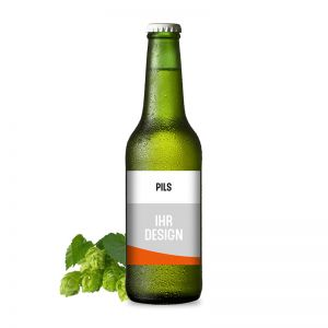 Edel-Pils Premium-Bier mit Werbeeetikett