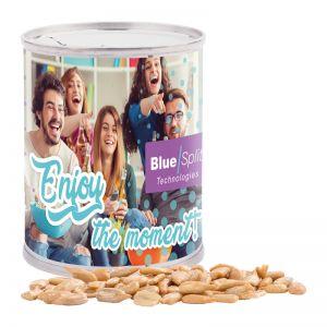 Erdnüsse mit Sonnenblumenkerne gesalzen in Snack Dose mit Werbe-Papieretikett