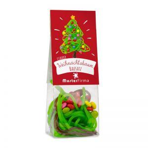 Essbarer Weihnachtsbaum mit Werbereiter