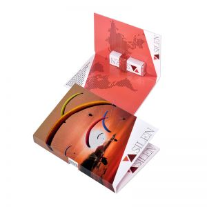 Faltkarte mit Pfefferminzriegel und Werbebedruckung