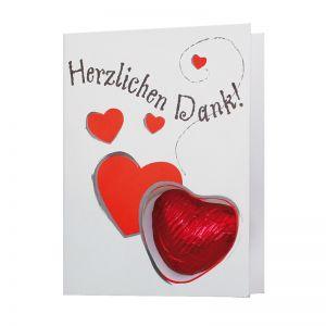 Faltkarte mit Schoko-Herz und Werbedruck