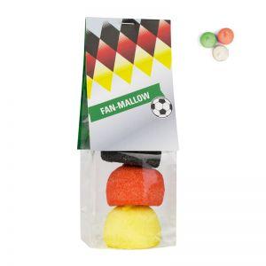 Fanbeutel Marshmallow in Länderfarben mit Werbereiter
