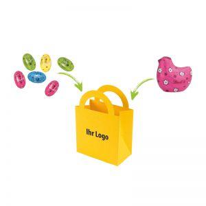 Farbige Ostertüte mit Lindt Mix Hildegard und Logodruck
