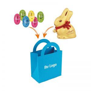 Farbige Ostertüte mit Lindt Mix und Logodruck