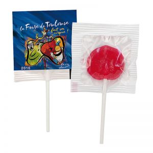 Flachlolly in Folie mit Werbedruck