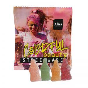 Fruchtgummi-Saftschorle im Werbetütchen mit Logodruck
