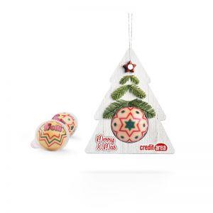 Fruchtgummi Weihnachtskugel mit Werbebanderole in Tannenform