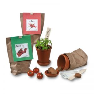 Gemüseanbau-Set mit Werbereiter und Logodruck
