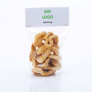 Getrocknete Apfelringe mit Werbereiter und logodruck