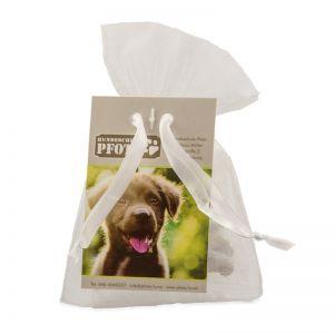 Hunde Leckerli im Organzabeutel mit Werbe-Hangtag