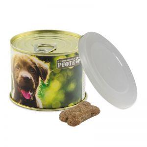 Hunde Leckerli-Konservendose mit Werbebanderole