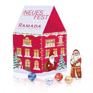 Individuelles Weihnachtshaus Lindt Minis mit Werbedruck