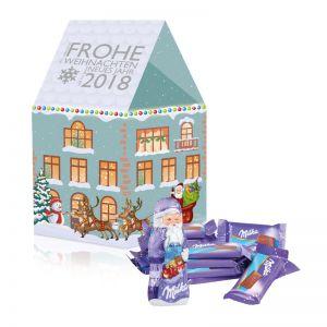 Individuelles Weihnachtshaus Milka mit Werbedruck