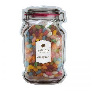 Jelly Beans im Maxi-Beutel in Weckglas-Form mit Werbeetikett