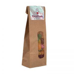 Jelly Beans in Kraftpapiertüte mit Werbeetikett