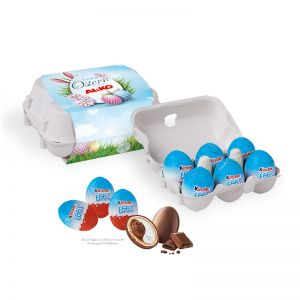 Kinder Eggs 6er-Set in Eierkartonage mit Werbebanderole
