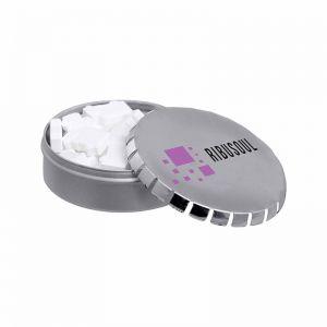 Klick-Klack Dose mit Standard Pfefferminzpastillen und Logodruck