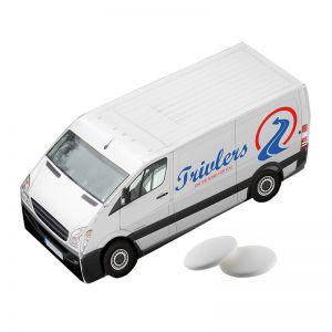 Lieferwagen mit Pfefferminz und Logodruck