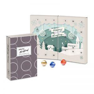 Lindt Adventskalender Buch aus 100 % Kartonage mit Logodruck