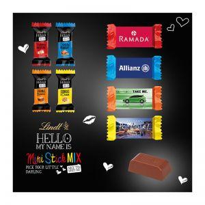 Lindt HELLO Mini Stick im schmalen Werbeschuber mit Logodruck