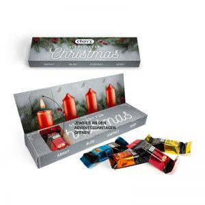 Lindt HELLO mini Sticks Adventsbox aus 100 % Kartonage mit Logodruck