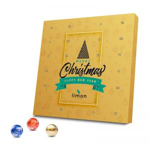 Lindt Lindor Adventskalender aus 100 % Kartonage mit Werbedruck