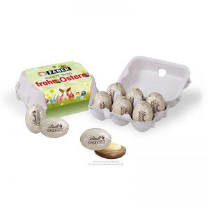 Lindt Mandoria 6er-Set in Eierkartonage mit Werbebanderole