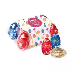 Lindt Mini-Ostereier 6er Set in Eierblister mit Werbebanderole