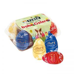 Lindt Ostereier 6er Set in Eierblister mit Werbebanderole