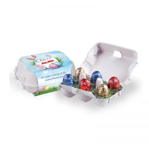 Lindt Schoko-Eier 6er-Set in Eierkartonage mit Werbebanderole