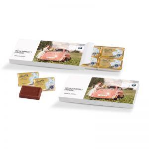 Lindt Schokotäfelchen in Präsentbox mit Werbebedruckung