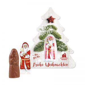 Lindt Weihnachtsmann auf Weihnachtsbaum mit Werbedruck