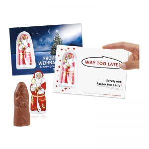 Lindt Weihnachtsmann auf Werbekarte mit Logodruck