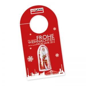 Lindt Weihnachtsmann Rückspiegelanhänger mit Werbedruck