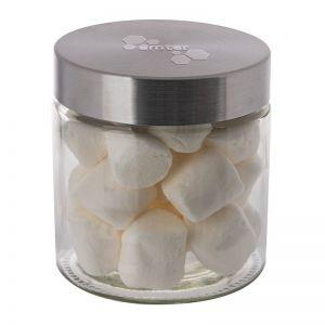 Marshmallows im Glas mit geprägtem Metalldeckel