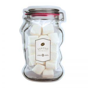 Marshmallows im Maxi-Beutel in Weckglas-Form mit Werbeetikett