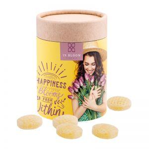Maxi Papierdose Apfel-Zimt Bonbons mit Papieretikett und Logodruck