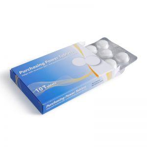 Medizinbox mit 10 Traubenzuckertabletten im Blister mit Logodruck