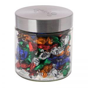 Metallic Bonbons im Glas mit geprägtem Metalldeckel